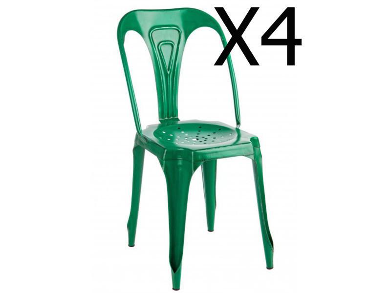 Lot de 4 chaises en métal coloris vert - dim : l 42 x p 48 x h 84 cm -pegane