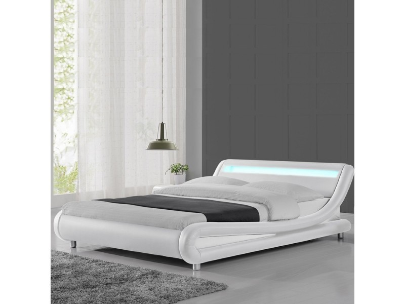 lit led design julio 160x200 blanc vente de meubler design conforama. Black Bedroom Furniture Sets. Home Design Ideas