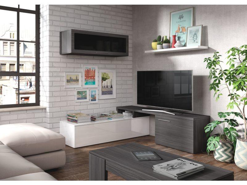 Nexus meuble tv mural 200 cm blanc/gris foncé