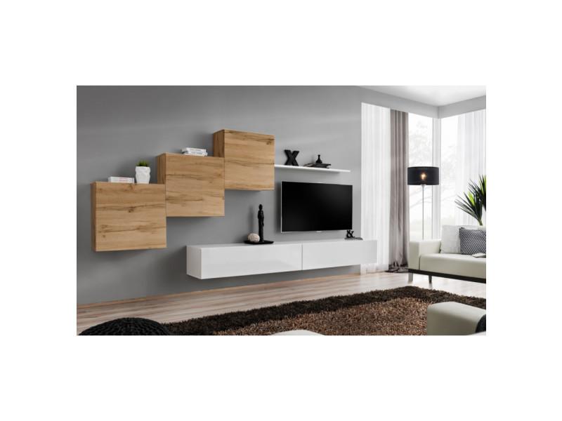 Ensemble mural - switch x - 3 vitrines carrées - 2 bancs tv - 1 étagère - bois et blanc - modèle 1
