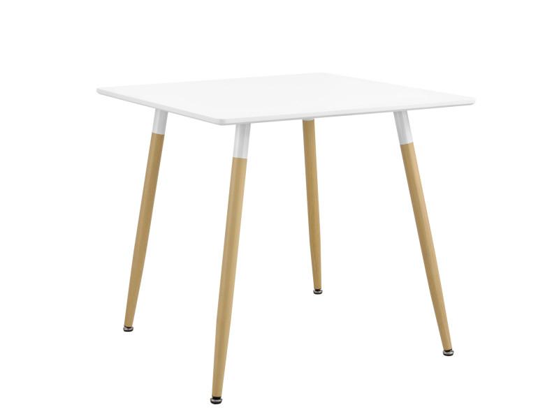 [en.casa] table à manger table de salle à manger table de cuisine bureau carré mdf laqué et acier blanc mat et hêtre 80 x 80 x 74cm