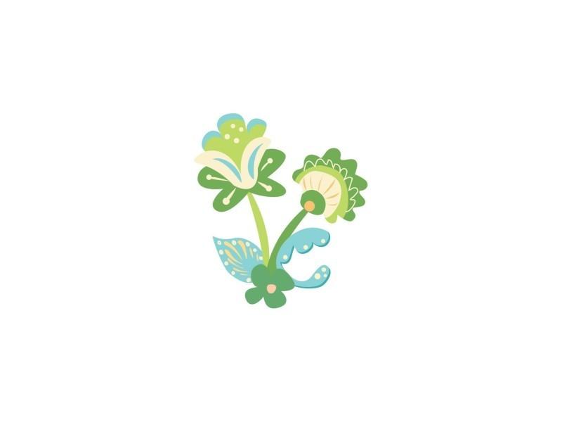 Sticker enfant : fleur russe verte - format : 37 x 42 cm