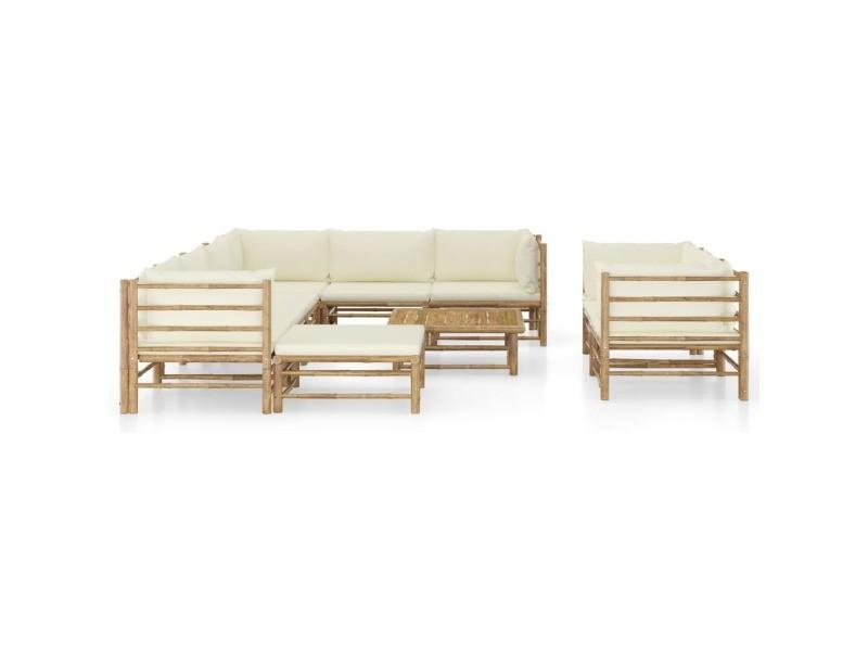 Vidaxl salon de jardin 10 pcs avec coussins blanc crème bambou 3058221