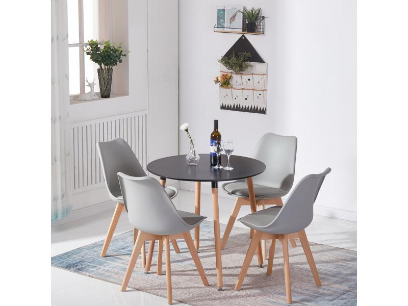 Lot de 4 chaises design contemporain nordique scandinave -tulipe chaises- pieds en bois de hêtre massif - gris