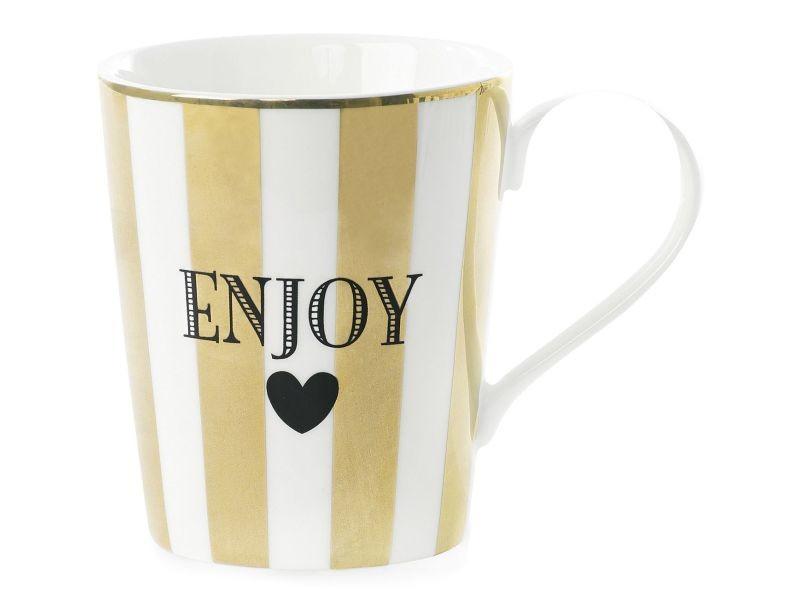 Mug avec poignée à rayures enjoy - or