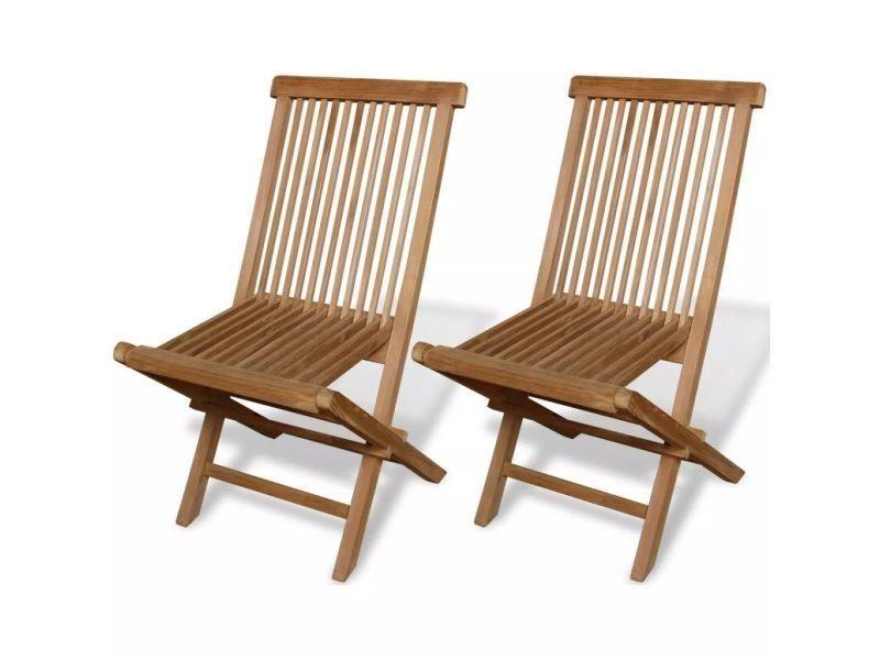 Vidaxl chaise pliable en teck 2 pcs 47 x 60 89 cm 41993