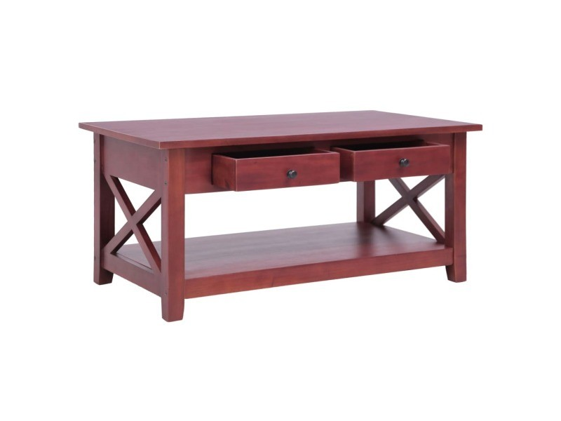 Vidaxl table basse marron 100x55x46 cm bois d'acajou massif 283837