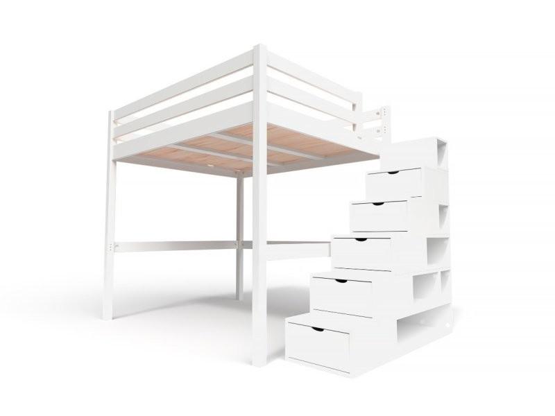 Lit mezzanine sylvia avec escalier cube bois 160x200 blanc CUBE160-LB