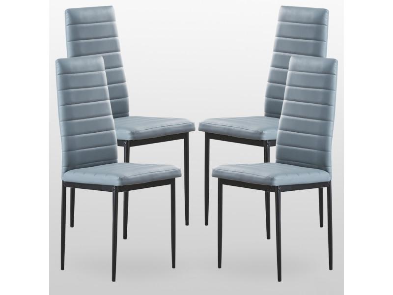 Lot de 4 chaises de salle manger grises en simili cuir - Conforama chaises salle a manger ...