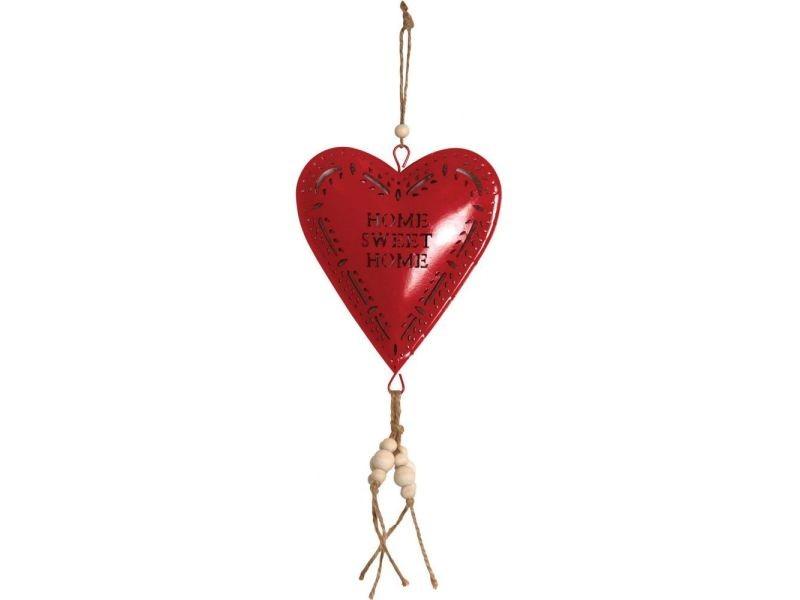 Coeur rouge en métal à suspendre sweet home 14 cm