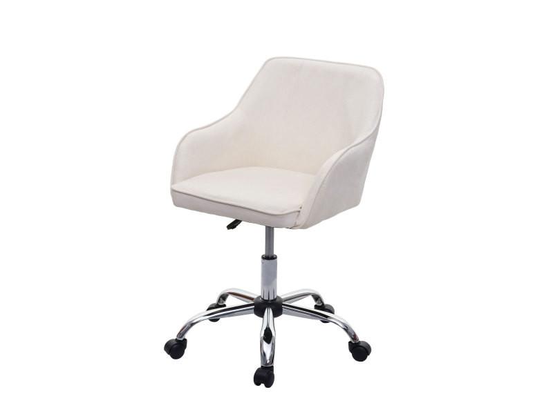Chaise de bureau hwc-f82 fauteuil directorial, pivotant, design rétro, velours ~ blanc