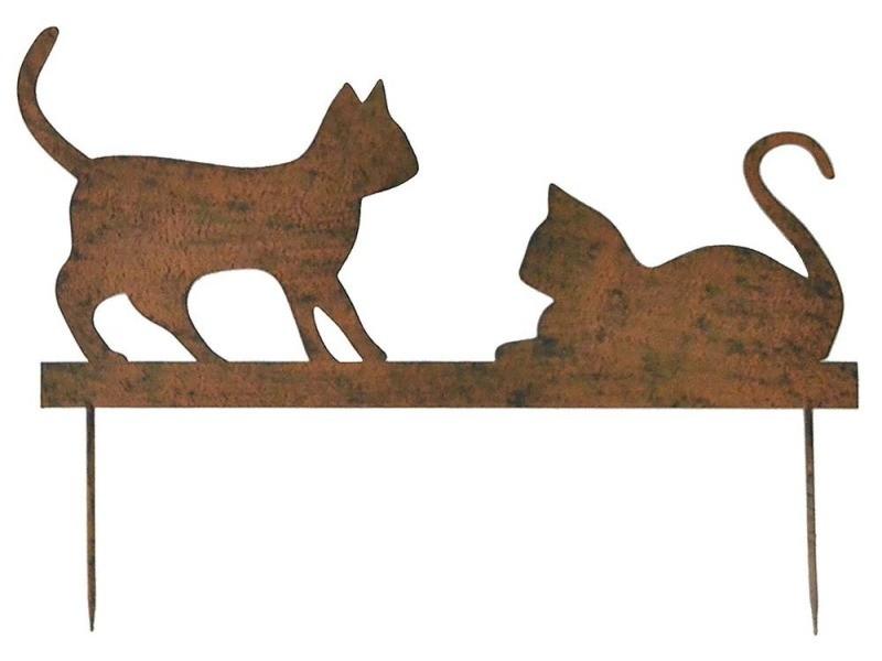 Statue de jardin silhouette couple chatons sur pique