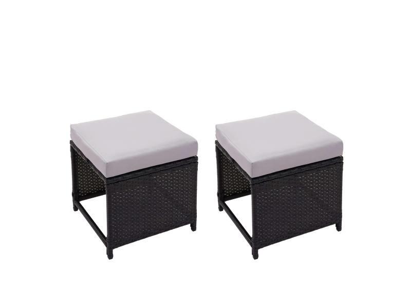 2x tabouret en polyrotin hwc-g16, tabouret de jardin, siège, gastronomie ~ noir, coussin gris clair
