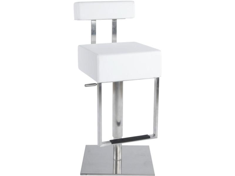 Tabouret de bar avec repose pieds cubo blanc