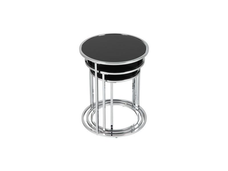 Table gigognes rondes en verre trempé coloris noir glossy