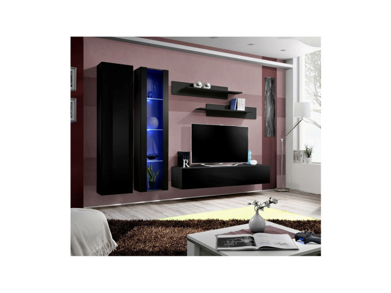 Ensemble meuble tv mural - fly iv - 260 cm x 190 cm x 40 cm - noir
