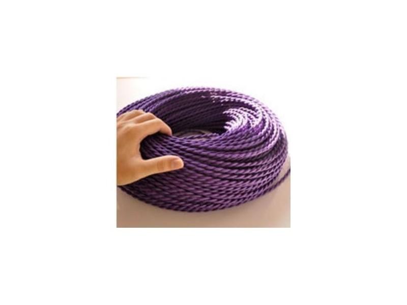 Fil électrique tressé violet vintage look retro en tissu