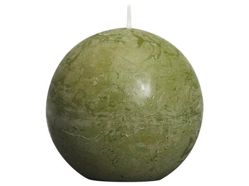 Bolsius bougies boule rustiques 6 pcs 80 mm vert olive 428159