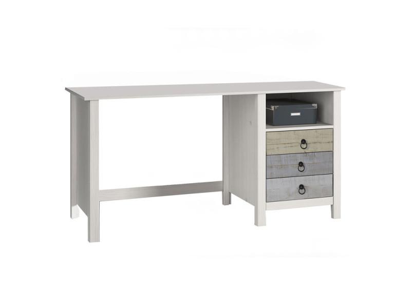 Bureau 3 tiroirs 1 niche bois blanchi lyhana l 120 x l 54 x h 74