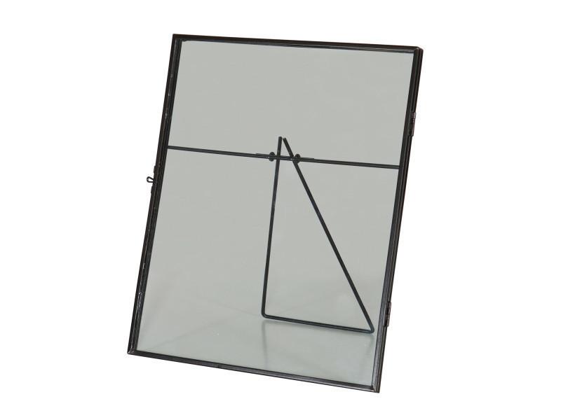 Cadre photo grand en métal coloris noir, dim : 26.5 x 22.3 x 1.70 cm -pegane-