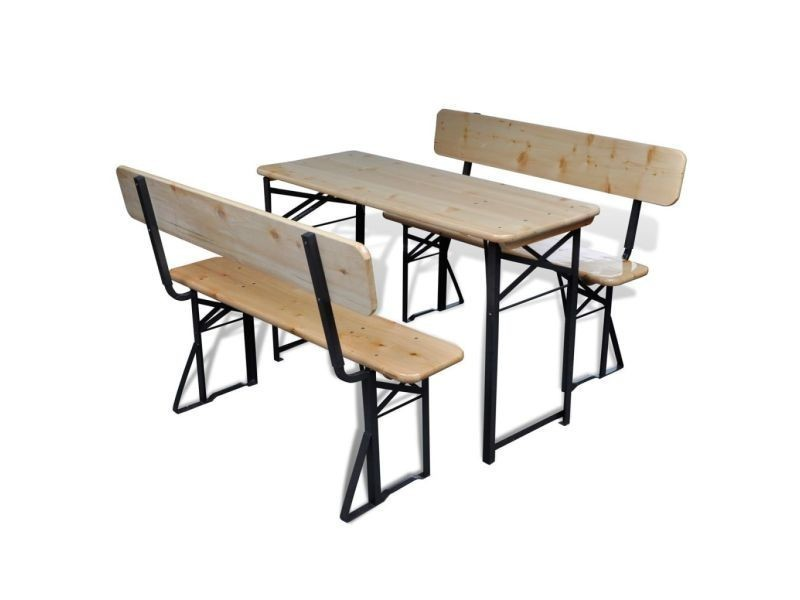vidaxl table avec 2 bancs 118 cm bois de sapin pliable 42205 vente de vidaxl conforama. Black Bedroom Furniture Sets. Home Design Ideas