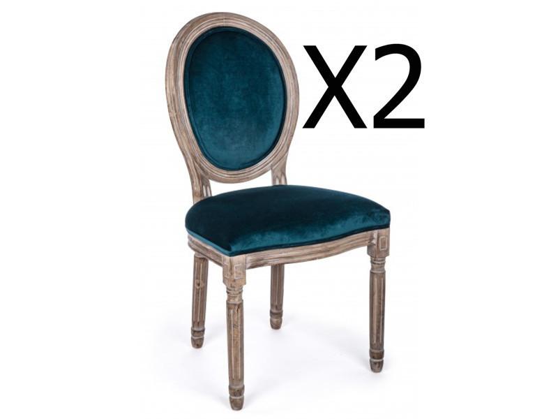 Lot de 2 chaises en bois de bouleau coloris bleu - dim : l 48 x p 46 x h 96 cm -pegane