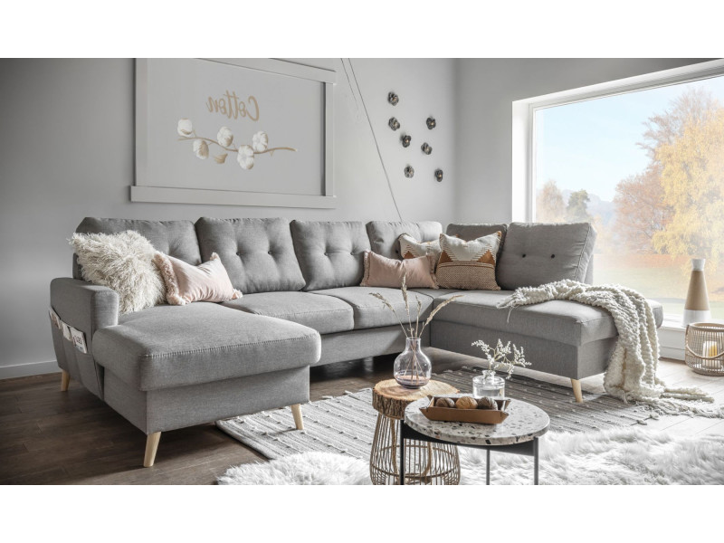 oslo canap panoramique convertible angle droite gris clair 290x87x198 149cm vente de. Black Bedroom Furniture Sets. Home Design Ideas