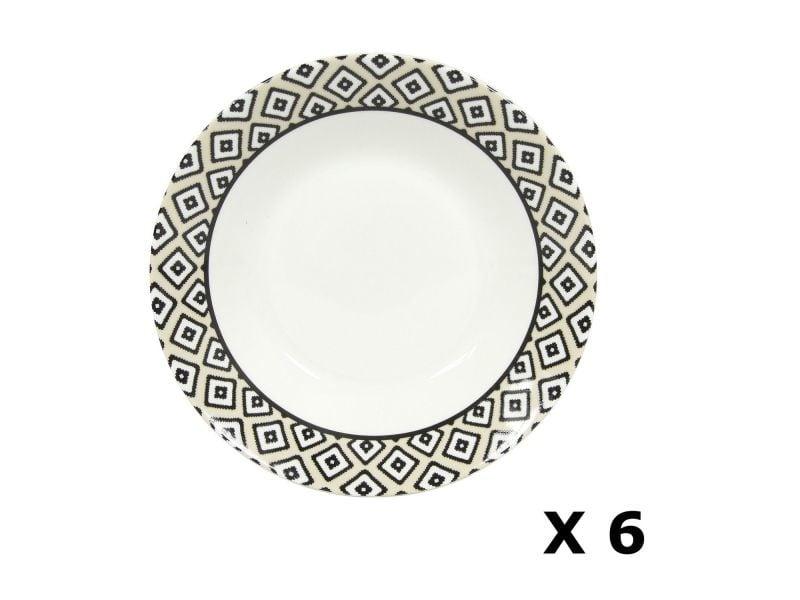 e7b1744d8e8500 6 assiettes creuses en porcelaine kumasi - diam. 20 cm - blanc et noir -  Vente de Assiette et service de table - Conforama