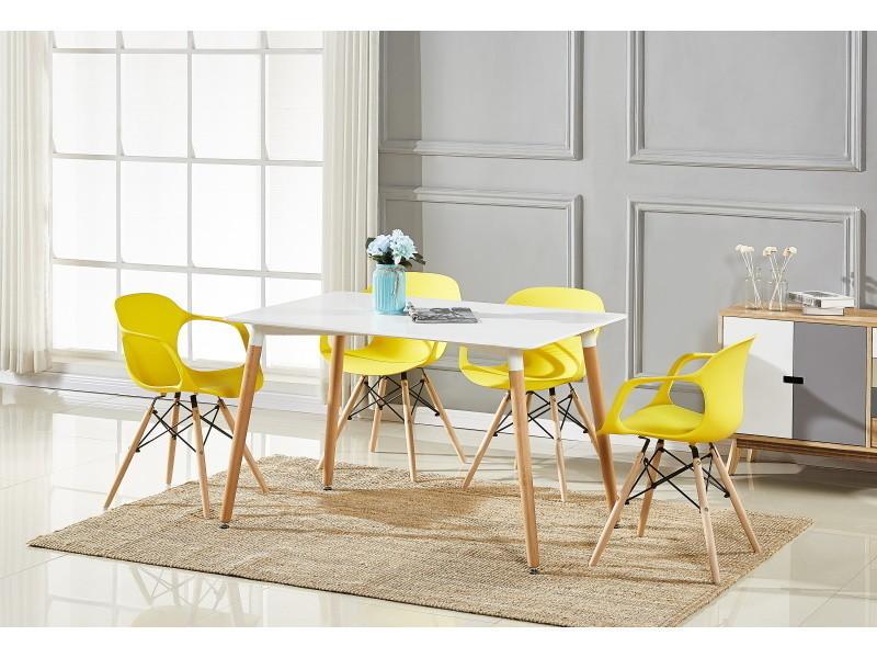 Table blanche & 4 chaises modernes jaunes alecia halo