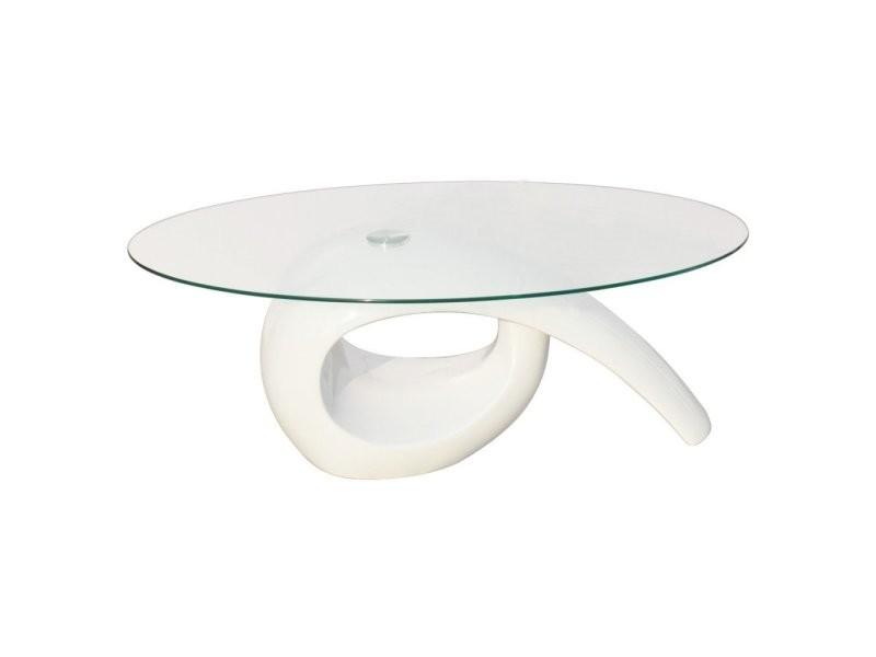 Table basse de salon salle à manger design blanche verre 115 x 64 cm helloshop26 0902016