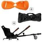 Accessoire hoverboard 6,5 pouces :  pack essentiel 3 en 1 : hoverkart noir +  coque/housse silicone orange +  sac de transport