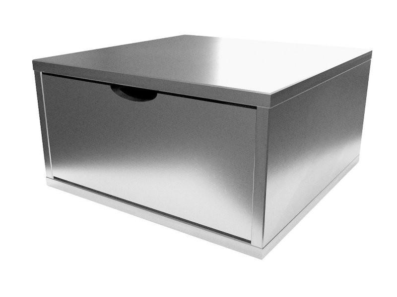 Cube de rangement bois 50x50 cm + tiroir gris aluminium CUBE50T-GA