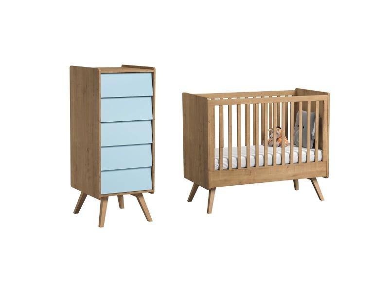 Lit bébé 60x120 et chiffonnier vintage - bois bleu