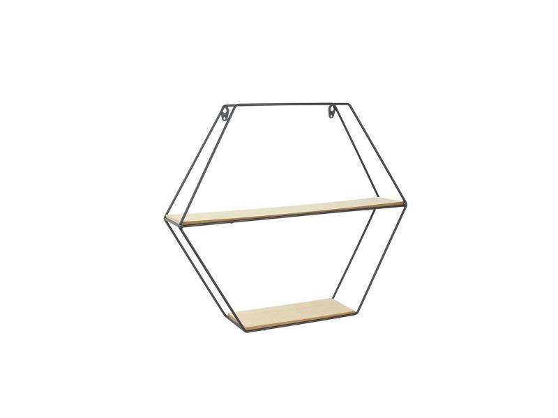 Étagère bois et métal hexagonale