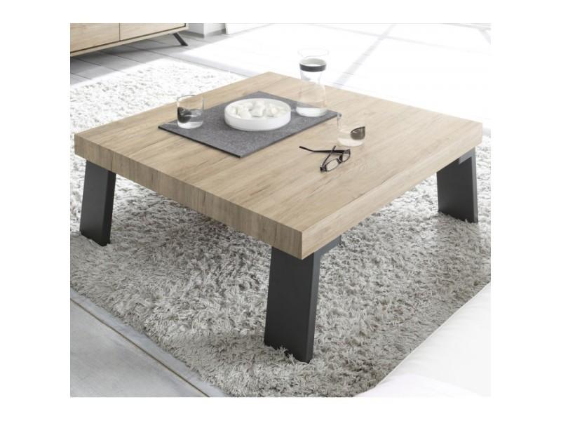 Table basse carrée chêne clair/métal - palerme - l 86 x l 86 x h 40 - neuf