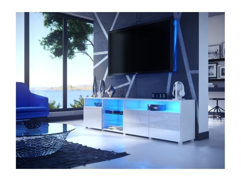 Meuble tv massimo 200 cm blanc mat et portes blanc laquées led rgb