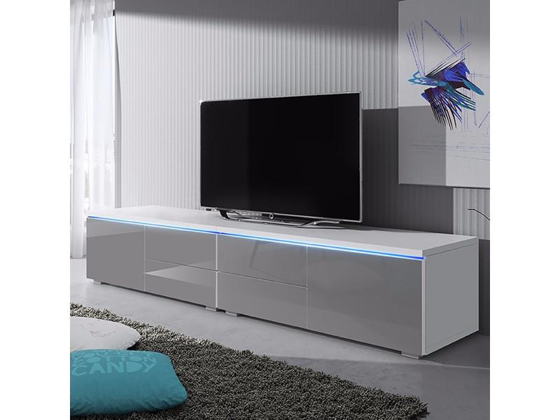 Meuble tv luv double blanc mat gris brillant avec led