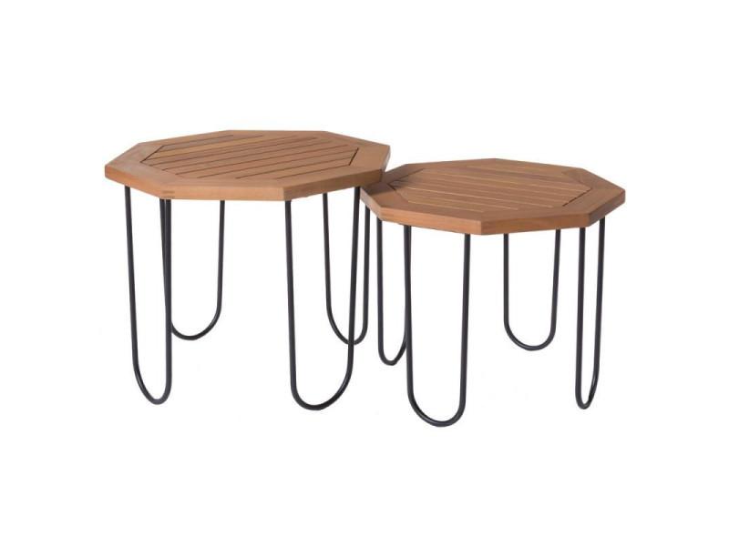 Duo de tables d'appoint métal/bois d'acacia - maiao - l 50 x l 50 x h 40 - neuf