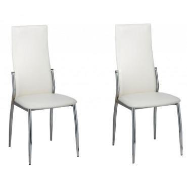 2 chaises de cuisine salon salle à manger design blanches