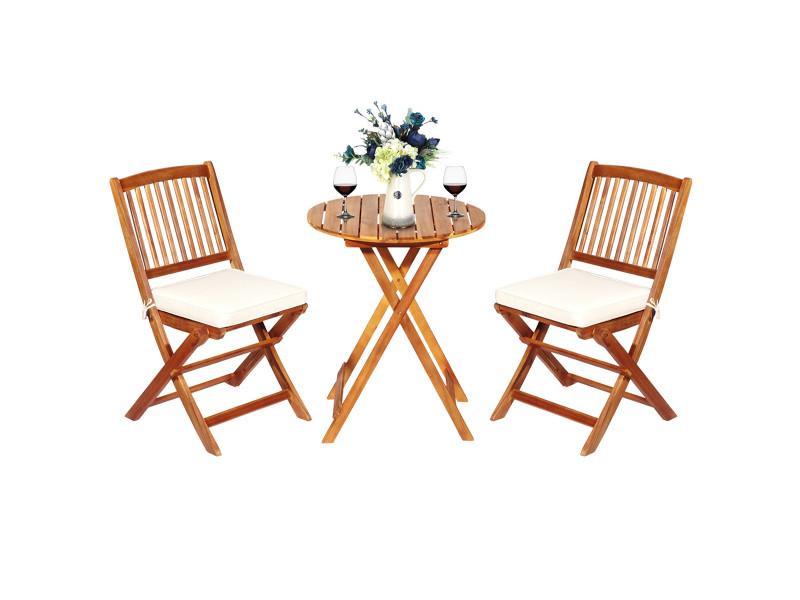 Giantex ensemble de table et chaises pliable, avec 2 chaises et 1 table ronde en bois d'acacia pour intérieur et extérieur, naturel