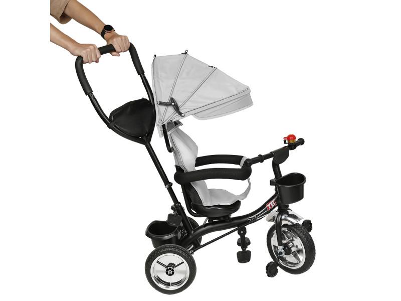 Hombuy gris tricycle enfant tricycle bébé mixte -tricycle évolutif- poussette évolutive - de 1 à 5 ans - gris clair