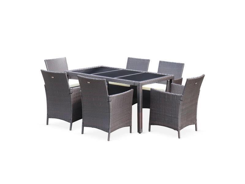 Salon de jardin 6 places - tavola 6 marron chocolat - résine tressée, table 150cm, coussins écrus, 6 fauteuils