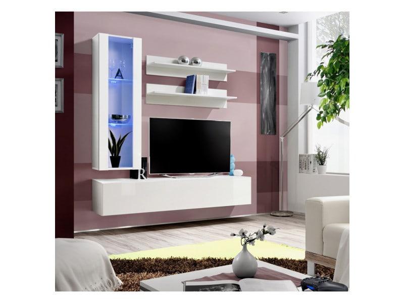 Ensemble meuble tv mural - fly ii - 160 cm x 170 cm x 40 cm - blanc