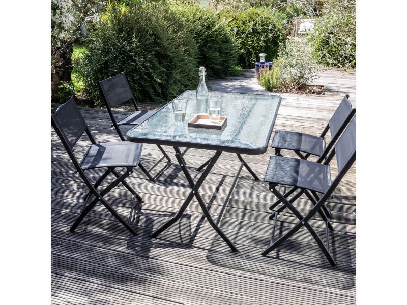 table de jardin et 4 chaises pliantes en acier et verre conforama. Black Bedroom Furniture Sets. Home Design Ideas