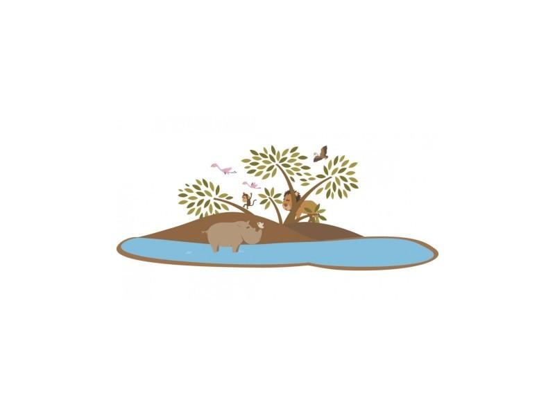 Decoloopio - stickers savane : île de la savane - format : 36 x 14 cm - 36 x 14 cm