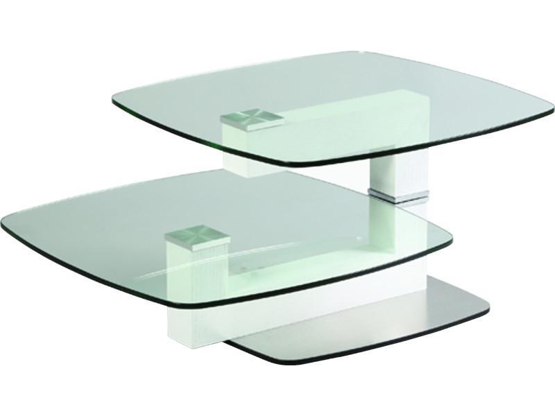 Table basse relevable en verre trempé et mdf - dim : l 146 x p 69 x ht 44 cm - pegane -