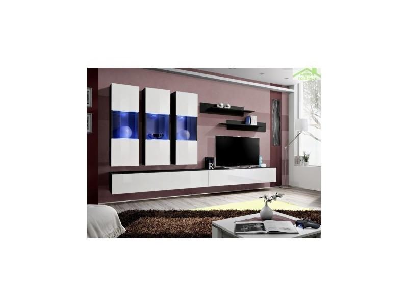 ensemble meuble tv suspendre fly e de haute brillance avec led 310x190x40 cm 23 zw fy e2. Black Bedroom Furniture Sets. Home Design Ideas