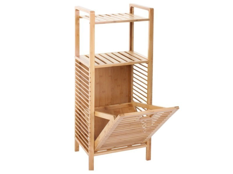 etag re meuble pour salle de bain en bambou avec panier. Black Bedroom Furniture Sets. Home Design Ideas