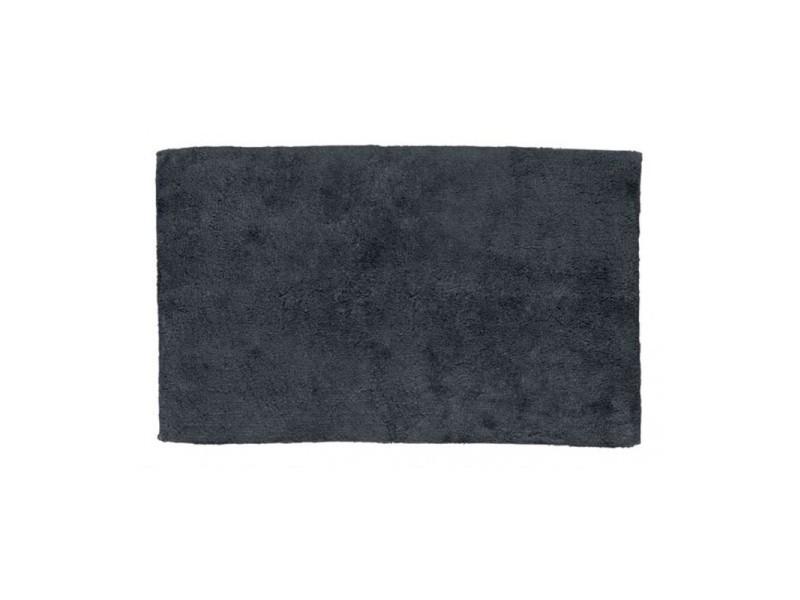 Tapis de bain rectangulaire 100% coton uni gris - 1775g - 80*50cm