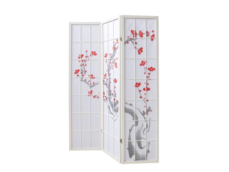 Paravent en bois avec fleur de cerisier blanc de 3 pans -pegane-